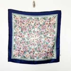 Accessories - 100% Silk Floral Hand Printed Square Scarf #2867